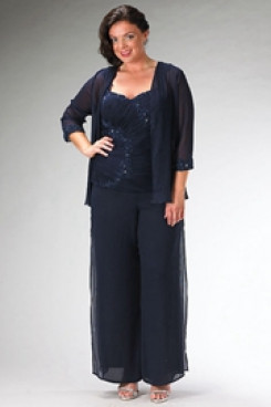 Plus Size mother of the bride  pants sets Dark Navy outfits mps-209