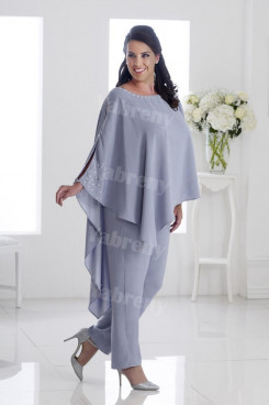 Plus size Mother of the bride Pants Suits With Asymmetry Overlay Gray Women's Outfits mps-315
