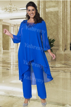 Plus size Mother of the bride Pantsuit Elastic waist 3PC Royal blue Women's Trousers Suits mps-316