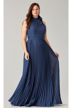 Plus size Navy Blue Bridesmaids Dresses Accordion Pleats so-272
