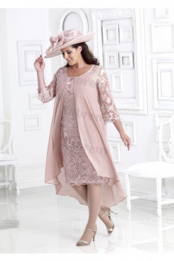 Plus size Pink Lace Mother of the bride dress with chiffon Overlay mps-345