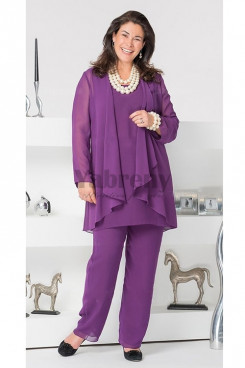 Plus Size Purple Elegant Loose Women's outfits mother of the bridal pants suits mps-046