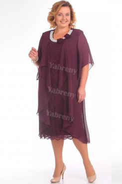 Plus Size Purple Mid-Calf Mother Of The Bride Dress With Hand Pearl Neck mps-448-3