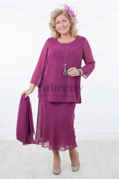 Plus size Rose red Modern Chiffon mother of the bride dresses with shawl mps-037