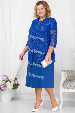 Plus Size Royal Blue Mother of the Bridal Dresses Half Sleeves Mid-Calf Women's Outfis with lace Jacket mps-370-1