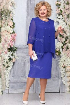 Plus Size Royal Blue Mother of the bride dress Knee-Length Wonen's Dresses mps-453-1