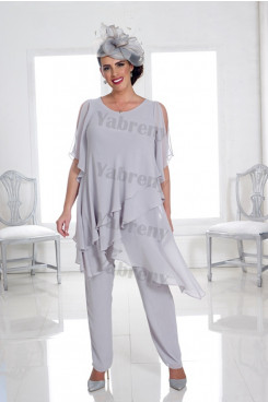 Plus size Silver Gray chiffon Mother of the bride pants suit Under $100 Women's Outfits mps-318
