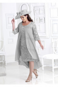 Plus size Silver Gray Lace Mother of the bride dress with chiffon Overlay mps-343