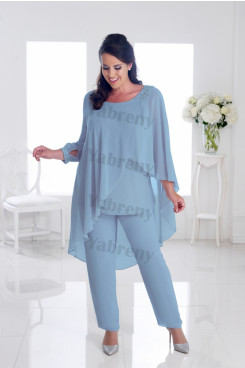 Plus Size Sky Blue Mother of the bride pants suits Overlay Women's Outfits mps-314