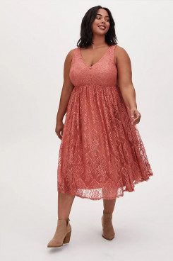 Plus Size Watermelon lace Women's Dresses, Midi Summer Dresses mps-410