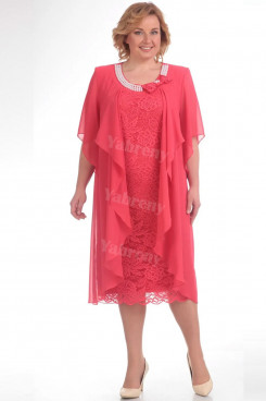 Plus Size Watermelon Women's Dress,Hand Beading Neckline Mother Of The Bride Dresses mps-448-1