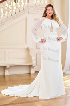 Plus Size Wedding dresses Long Sleeves Bridal Gown Wd-037