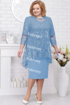 Plus Size Women's Outfis Sky Blue 2 pc Mother of the Bridal Dresses mps-367-3