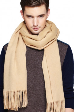 Stylish Pure Khaki Color Wool men Scarves for Autumn and Winter