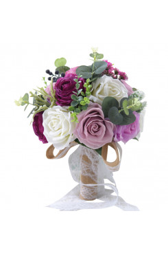 Beautiful Artificial Flowers Rose for Bridesmaids and bride holding flowers Purple and green