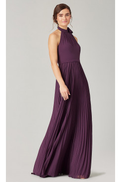 Purple Bridesmaids Dresses With Accordion Pleats so-276