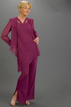 Purple modern spring mother of the bride dress pants sets mps-217