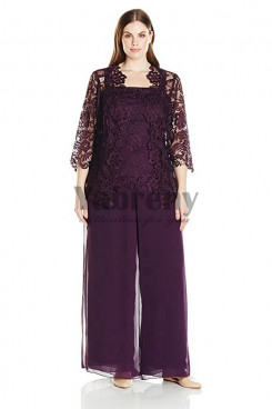 Purple Plus size Three pieces Lace mother of the bride pants suit dresses mps-053