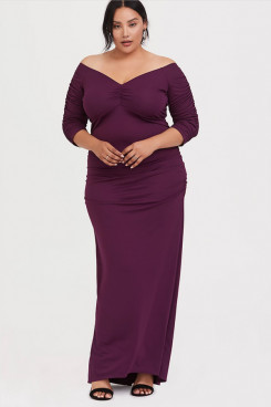 Purple Plus Size Women's Dresses,Elastic Half Sleeves Mother Of The Bride Dresses mps-403