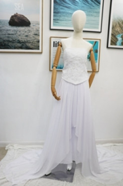 Real pic Bridal jumpsuit with hand beaded belt mps-176