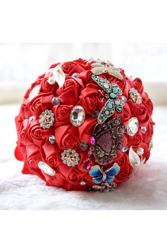 Red Artificial Flowers Rose for bride and Bridesmaid Bouquet with Butterfly and preals