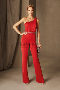Red Chiffon Cocktail Jumpsuits Prom dresses bridesmaid pants dress so-191