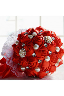 Red Hand Beading wedding bouquets for bride and bridesmaids with Crystal