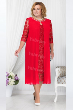 Red Mother Of The Bride Dress, Mid-Calf  Plus Size Women's Dresses mps-446-2