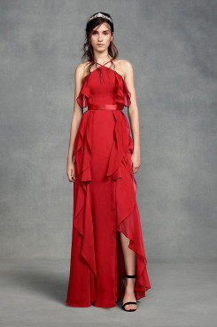 Red Spring Modern Empire Garden bride jumpsuits with Belt So-205-1
