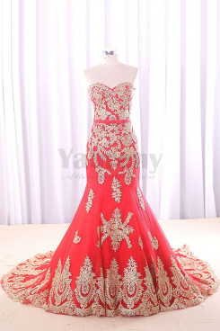 Red Sweetheart Elegant Wedding dresses With Golden Appliques wd-013-1