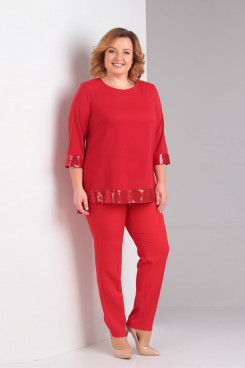 Red Two Piece Mother of the Bride Pant Suits With Sequins Plus Size mps-428