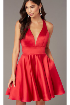 Under $100 V-neck Homecoming Party Dress,Red Above Knee Dreses with Pockets sd-014-2