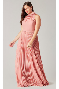 Rose Pink Halter Bridesmaids Dresses With Accordion Pleats so-279