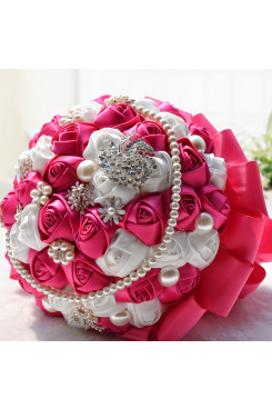 Rose Red and ivory Artificial wedding bouquets with Hand beads and Glass Drill