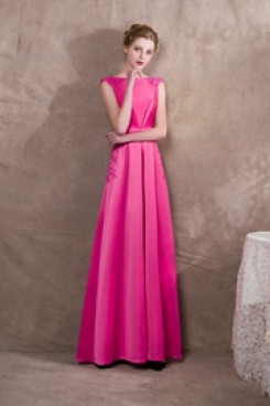 New Arrival Rose Red Beaded Satin Prom dresses Jumpsuits so-042