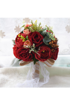 Rose Red Artificial Flowers Rose for bride and bridesmaids with green leaves