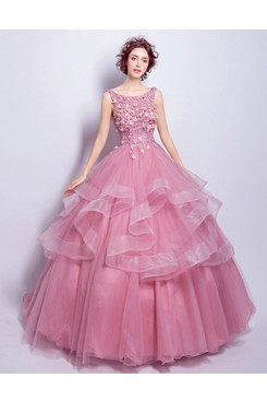 Rose Red Multilayer Ball Gown dress Ruffles Quinceanera Dresses TSJY-177