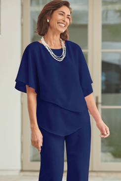 Royal Blue Chiffon Women's outfit Mother of the bride pantsuits mps-493