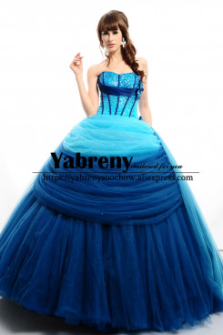 Royal Blue Hand Beading Ball Gown Quinceanera Dresses so-255