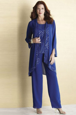 Royal Blue Hand beading outfit for mother of the bride pantsuits mps-237