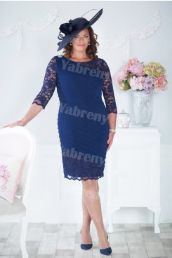 Royal Blue lace Knee-Length Mother of the bride dress plus size Overall creases mps-352