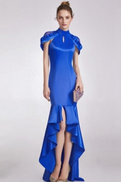 Royal Blue Mermaid Front Short Long Back prom Dresses for homeconming cyh-005