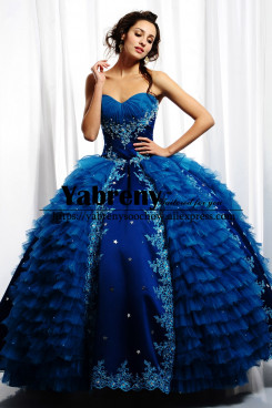 Royal Blue Multilayer Ball Gown Quinceanera Dresses so-254