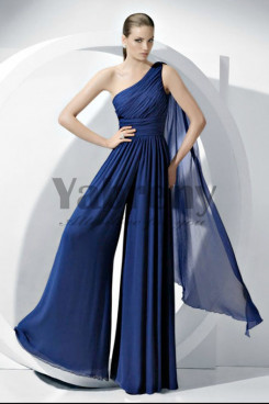 Royal Blue One Shoulder Fashion women's Jumpsuits for Wedding party so-059