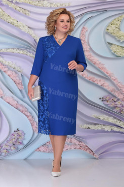 Royal Blue Tea-Length Mother Of The Bride Dresses Plus Size women's Dress mps-459-4