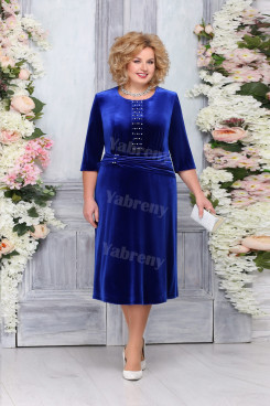 Royal Blue Velvet Mother of The Bride Dresses, Elegant Plus size Women's Dresses mps-475-3