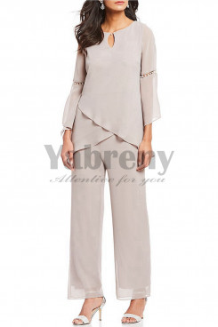 Sand Chiffon Mother of the bride pantsuits withe sleeves of pearl mps-006