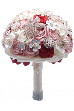 Satin Crystal Glass Drill wedding bouquets for bride Pink and white and red flowers for bride