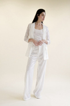Sequins Wedding White pant suit dress Women Trousers set so-138