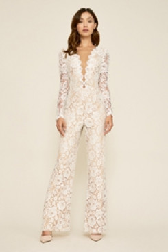 Sexy Deep V-Neck Lace Bridal Jumpsuits Lawn Wedding Pants dress so-140